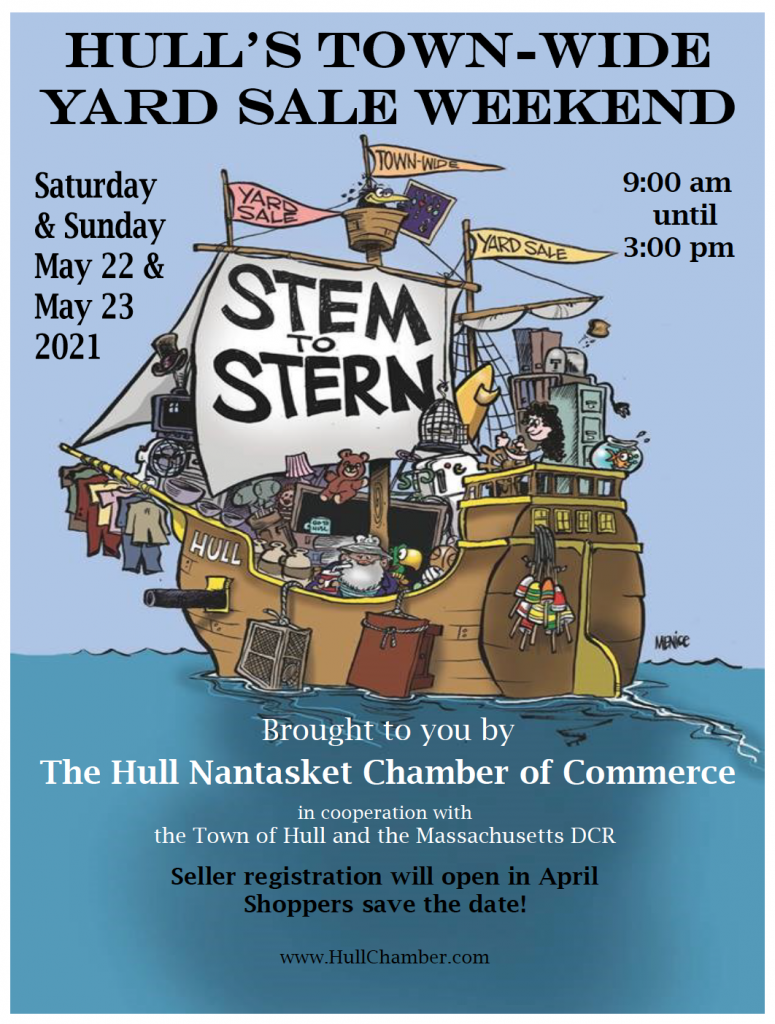 """Hand drawn cartoon flyer for Hull's Town wide yard sale. Its a large, old sailboat with a giant sign that says """"Stem to Stern"""""""